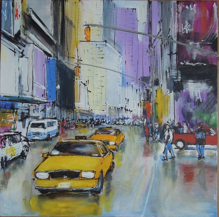 New York, Street after rainfall - Painting,  14.2x14.2 in, ©2018 by Michel Castel -                                                                                                                                                                          Figurative, figurative-594, Cityscape