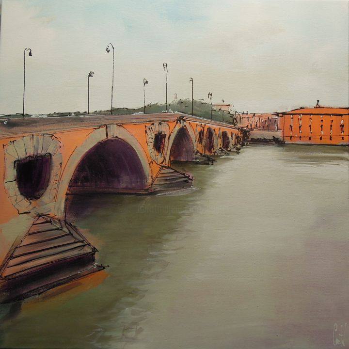 Toulouse, Le Pont Neuf - Painting,  19.7x19.7 in, ©2018 by Michel Castel -                                                                                                                                                                          Figurative, figurative-594, Cityscape