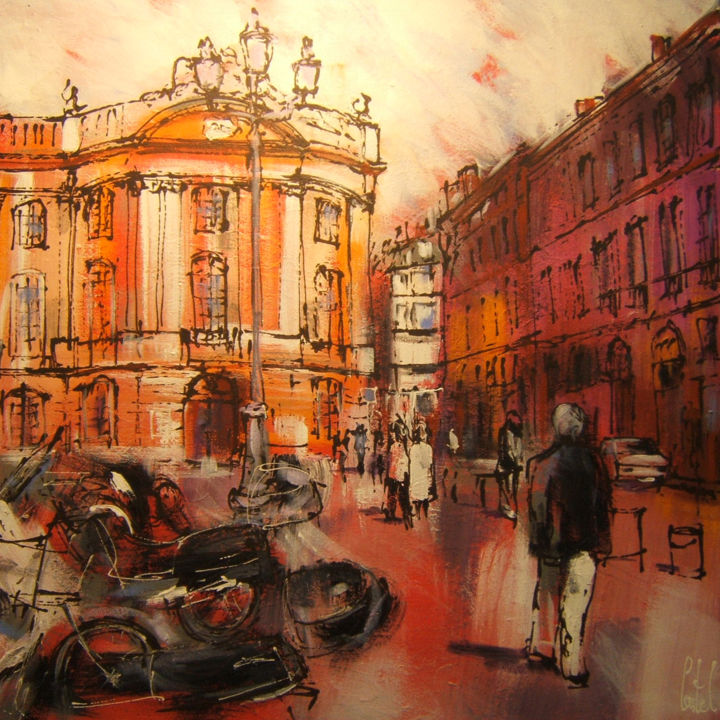 Toulouse, place du Capitole - Painting,  27.6x27.6 in, ©2015 by Michel Castel -                                                                                                          Abstract Art, Cityscape
