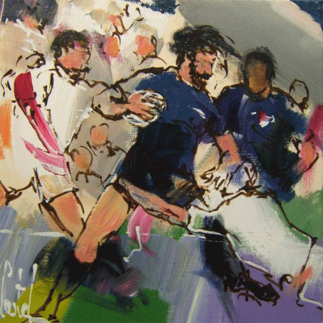 Rugby - Painting,  11.8x11.8 in, ©2011 by Michel Castel -