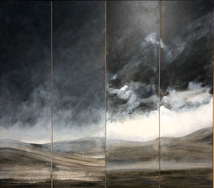 Paysage et nuages noirs - Painting,  31.5x31.5 in, ©2018 by Jeanie Castelli -