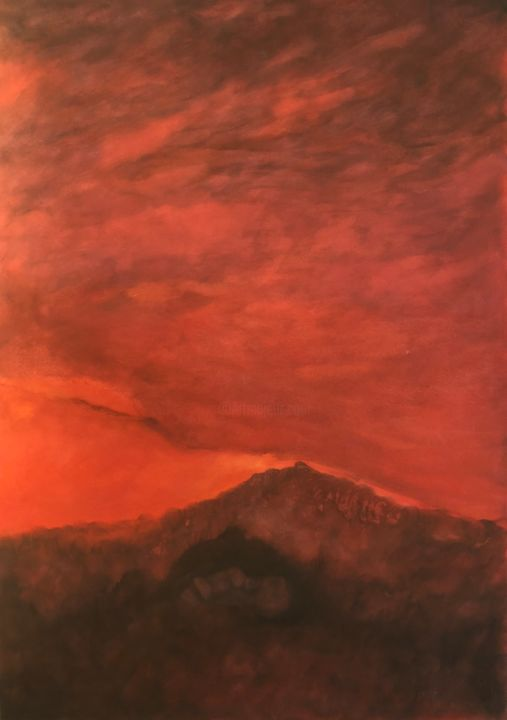 Ciel rouge - Painting,  36.2x24x0.4 in, ©2017 by Jeanie Castelli -