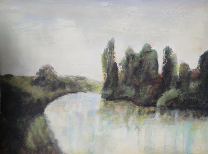 Paysage 86 - Painting,  17.7x23.6 in, ©2010 by Jeanie Castelli -