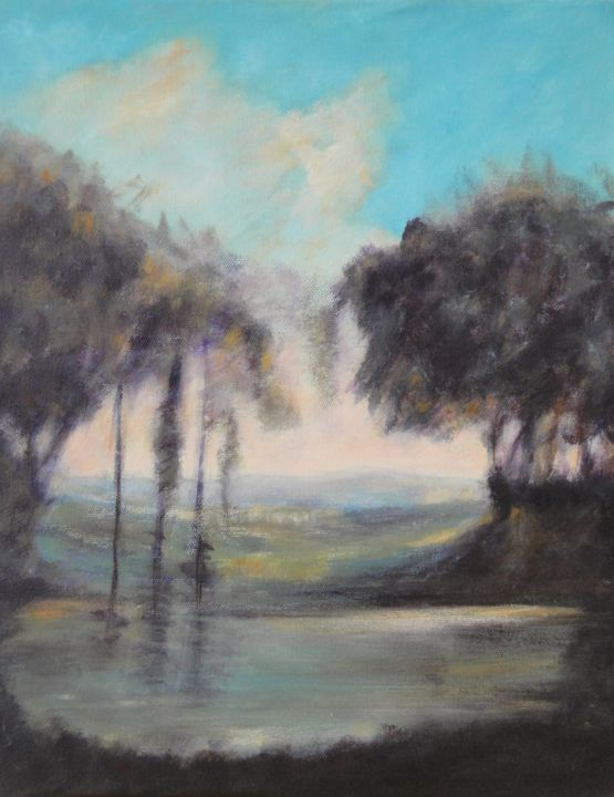 Paysage 91 - Painting,  16.1x13 in, ©2010 by Jeanie Castelli -