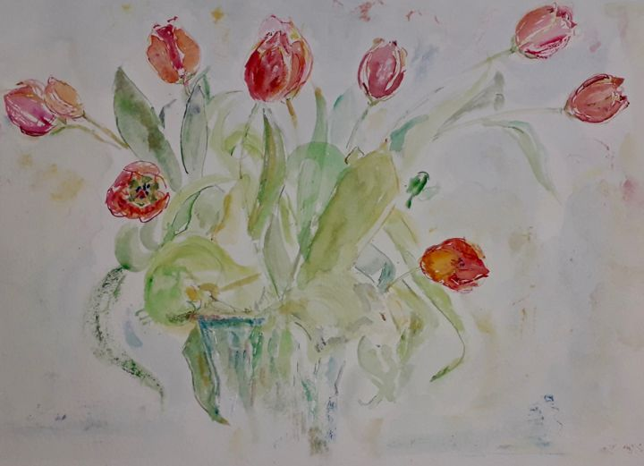 Tulipes d'automne - Painting,  8.3x11.4 in, ©2019 by Catherine Claude -                                                                                                                                                                                                                                                  Flower, tulipes, automne, autumn, tulips