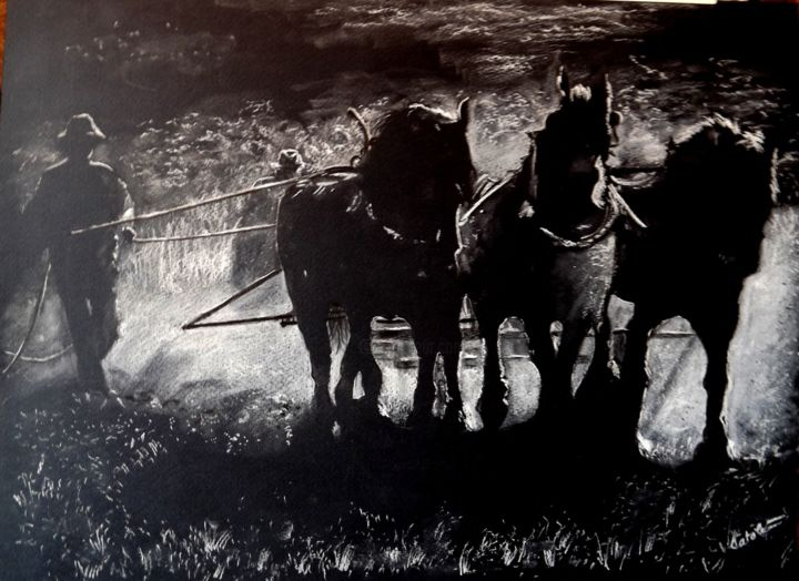 """Drawing titled """"IN THE FIELD"""" by Catalin Soare, Original Art, Pastel"""