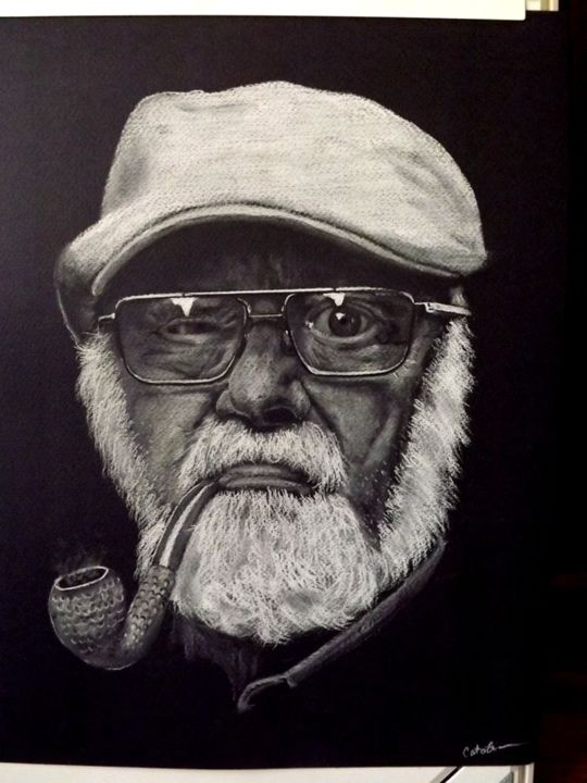 """Drawing titled """"OLD MAN WITH A PIPE"""" by Catalin Soare, Original Art, Pastel"""