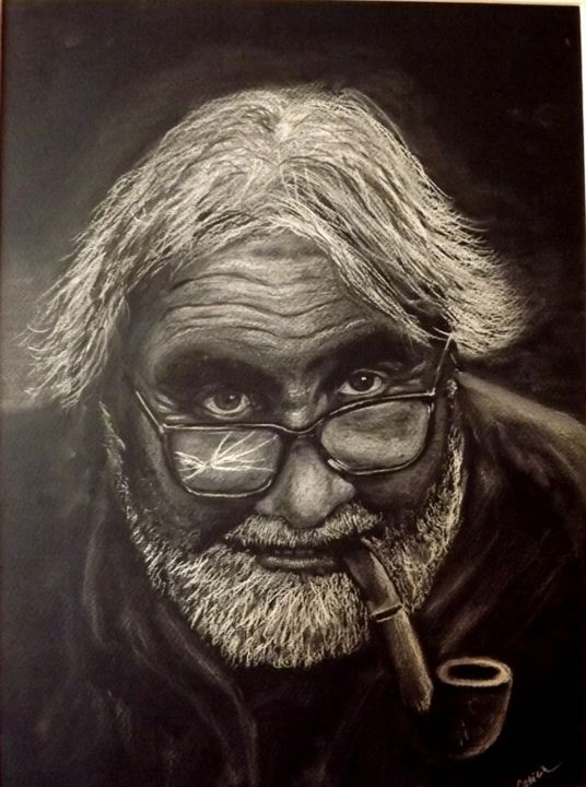 """Drawing titled """"OLD MAN WITH BROKEN…"""" by Catalin Soare, Original Art, Pastel"""