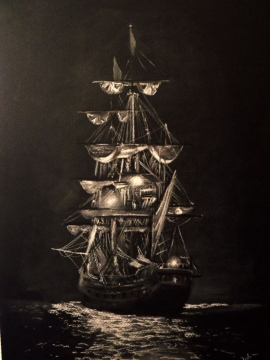"""Drawing titled """"SAILING IN THE NIGHT"""" by Catalin Soare, Original Art, Pastel"""