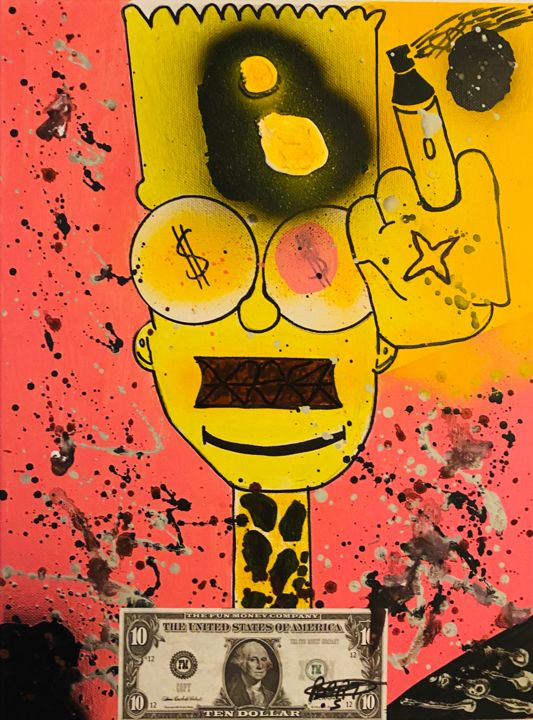Bart the GrAF dictator - Painting,  15.8x11.8x0.8 in, ©2020 by Rk07 -                                                                                                                                                                                                                                                                      Street Art, street-art-624, Cartoon, simpson, street art