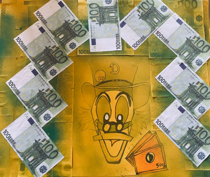 Donald make money with money - Painting,  19.7x23.6x0.8 in, ©2020 by Rk07 -                                                                                                                                                                                                                                                                                                                                                                                                          Street Art, street-art-624, Cartoon, donald, street art, money, argent, pop