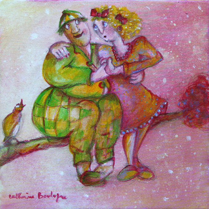 Couple-rose.jpg - Painting,  7.5x0.4x7.5 in, ©2014 by Catherine Boulogne -                                                                                                                                                                                                                          Figurative, figurative-594, Love / Romance, amour branche rose affection