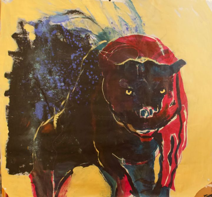« Protecting dog » - Painting,  37.4x39.4 in, ©2019 by Catherine Ailesse -                                                                                                                                                                                                                                                  Animals, dog, popart, symbolisme, modernart