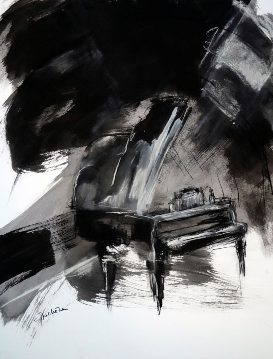 Piano Drawing, ink, expressionism, artwork by Catherine Duchêne