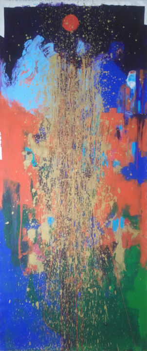 Dieu ? - Painting,  63x26.8 in, ©2017 by Catherine Maddens -                                                                                                                                                                                                                                                                                                                                                                                                                                                                                                                                                                                                                                                                                                                                                                                                                                                                                                                                                                                                                                                                                                                                                                                                                                                                              Abstract, abstract-570, Abstract Art, Outer Space, Colors, Catherine Maddens, Maddens Art, art contemporain, art abstrait, abstract art, art figuratif, Peter Doig, Peinture acrylique, encres, artiste Paris, Femme artiste, artiste française, couleur orange, couleur bleue, personnage cheveux blancs, artiste abstrait, peinture abstraite, exposer, couleur bleue foncé, couleur Or, couleur verte, abstract painting