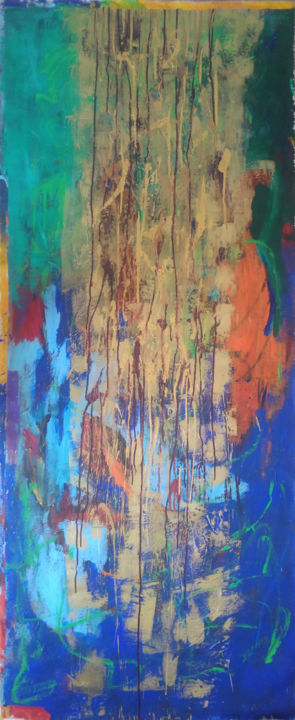 Etre peintre - Painting,  63x28.4 in, ©2017 by Catherine Maddens -                                                                                                                                                                                                                                                                                                                                                                                                                                                                                                                                                                                                                                                                                                                                                                                                                                                                                                                                                                                                                                                                                                                                                                                                                                                                                                                              Abstract, abstract-570, Canvas, Cotton, Abstract Art, Outer Space, Colors, Catherine Maddens, Maddens Art, Art contemporain, art abstrait, abstract art, peinture acrylique, encre, artiste Paris, Femme artiste contemporaine, artiste française, Acrylique, couleur verte, peinture abstraite, couleur bleue ciel, couleur bleue, couleur orange, couleur or, artiste abstrait, abstract painting, paintings, émotions spirituelles