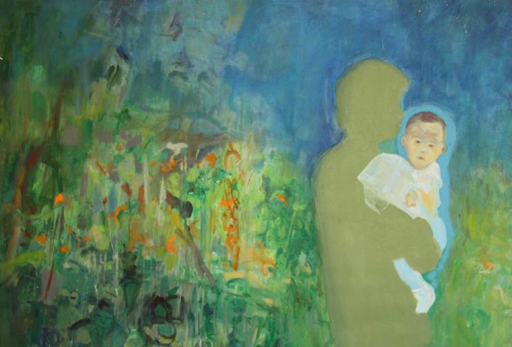 Mon ange - Painting,  59.1x70.9 in, ©2017 by Catherine Maddens -                                                                                                                                                                                                                                                                                                                                                                                                                                                                                                                                                                                                                                          Figurative, figurative-594, Canvas, Cotton, Kids, Angels, Asia, Landscape, Enfant, ange, Catherine Maddens, Maddens Art, enfant et papa