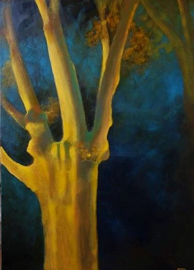 free tree in the night 2 - Painting,  25.6x17.7 in, ©2019 by Catherine Cazaentre -                                                              Tree