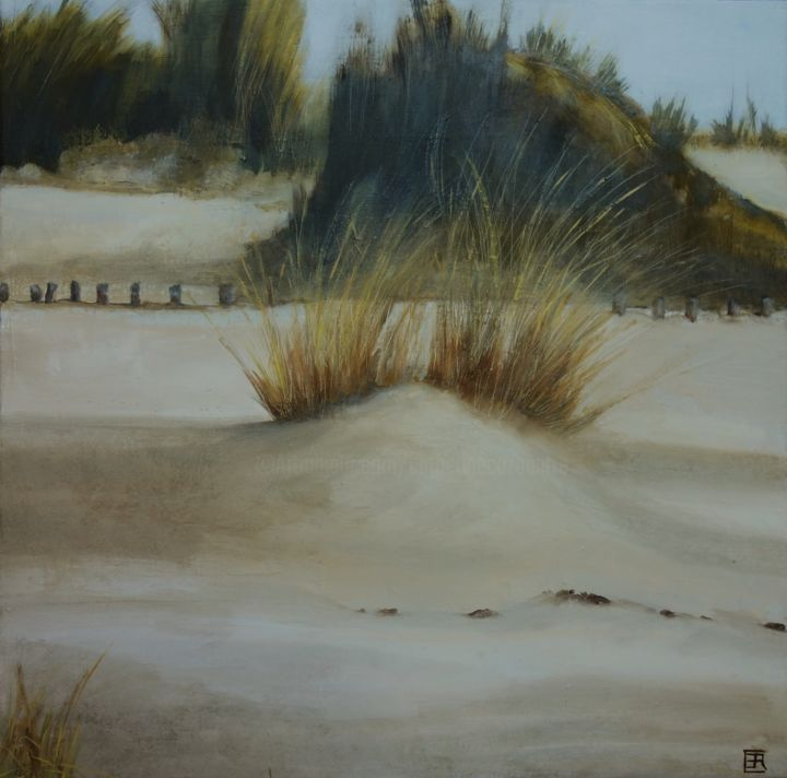 Dune - Painting,  19.7x19.7x0.8 in, ©2020 by Catherine Cazaentre -                                                                                                                                                                                                                          Figurative, figurative-594, Landscape, dune