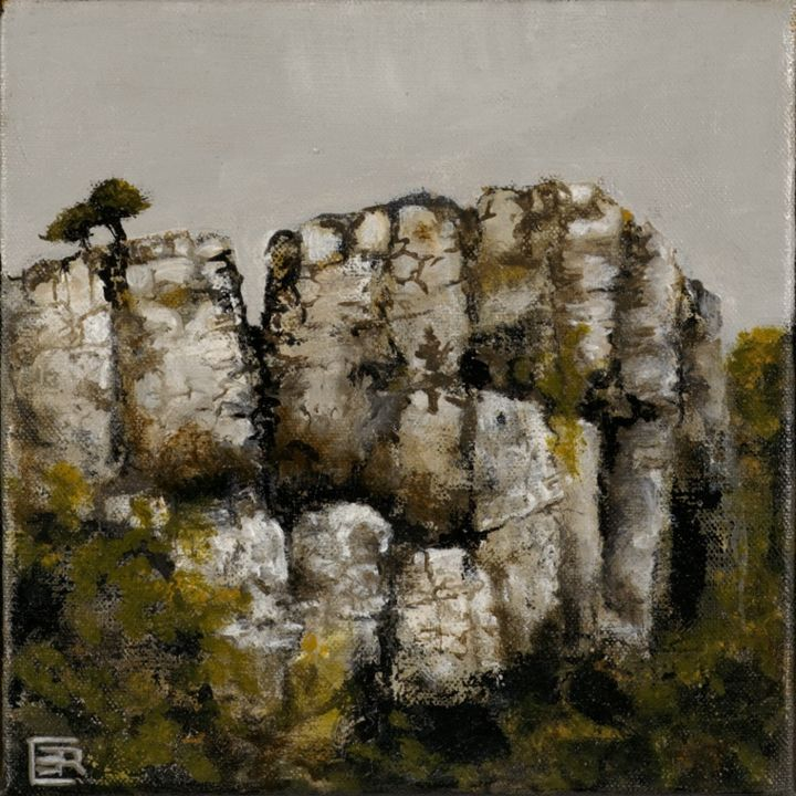 petite-falaise - Painting,  20x20 cm ©2014 by Catherine Cazaentre -                            Contemporary painting, petite falaise