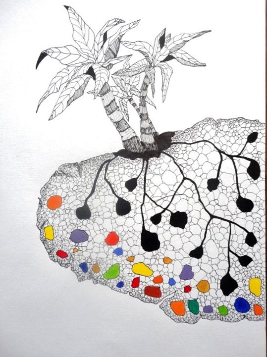 tuberculoide3 (détail) - Drawing,  50x40 cm ©2015 by Catherine Cazaentre -