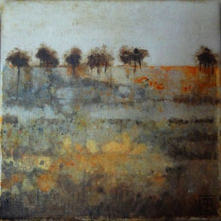 savane - Painting,  7.9x7.9 in, ©2016 by Catherine Cazaentre -                                                                                                              Nature, paysage