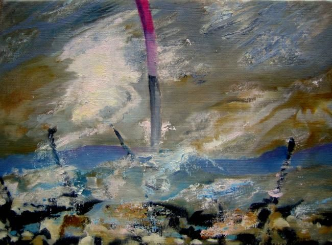 """""""BATEAU IVRE -3-"""" - Painting,  6.3x8.7 in, ©2012 by Catherine Chesneau -"""
