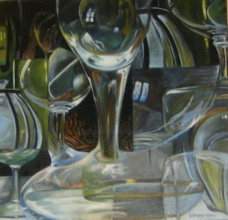 """VERRES en l'AIR"" - Painting,  19.7x19.7 in, ©2012 by Catherine Chesneau -"