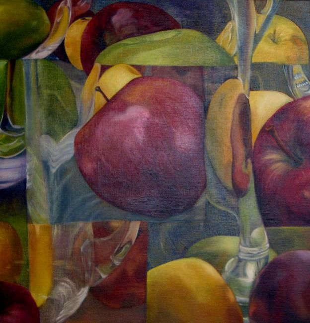 """""""REFLETS de POMMES"""" - Painting,  19.7x19.7 in, ©2012 by Catherine Chesneau -"""