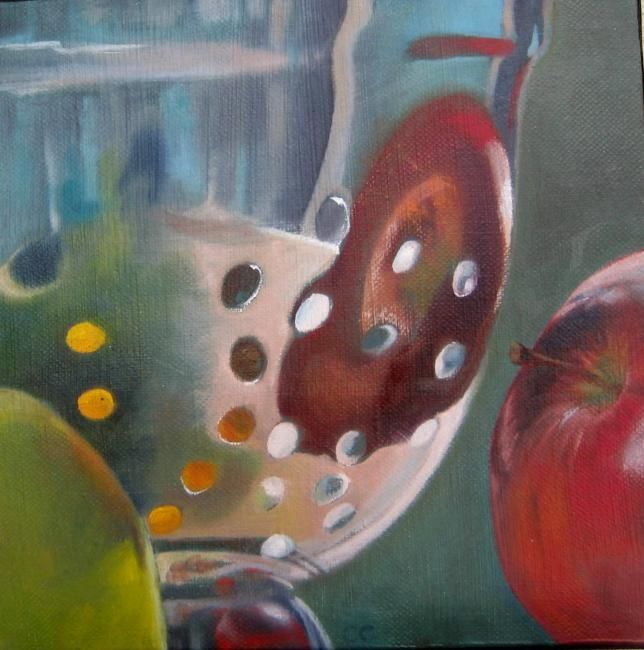 """""""MIREMENT de POMMES -1-"""" - Painting,  11.8x11.8 in, ©2012 by Catherine Chesneau -"""