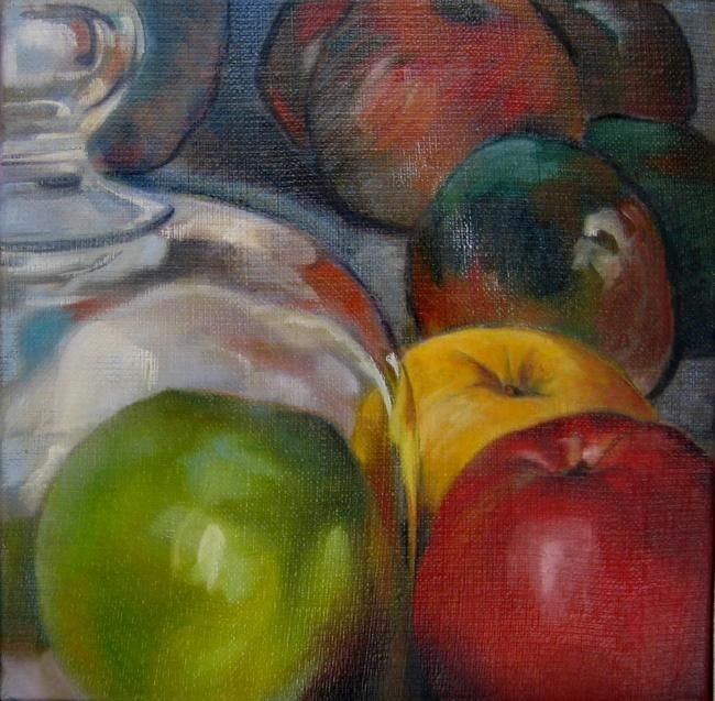 """""""MIREMENT de POMMES -3-"""" - Painting,  30x30 cm ©2012 by Catherine Chesneau -"""