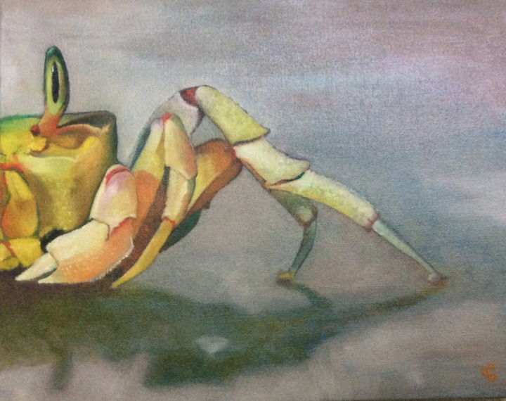 CRABE FANTOME - Painting,  27x41 cm ©2016 by Catherine Chesneau -