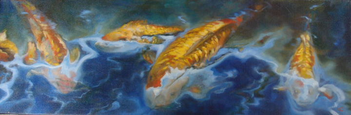 POISSONS d'OR (Carpes Coy) - Painting,  9.8x29.5 in, ©2016 by Catherine Chesneau -