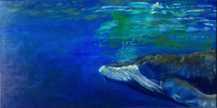 PI-la Mer - Painting,  30x60 cm ©2016 by Catherine Chesneau -