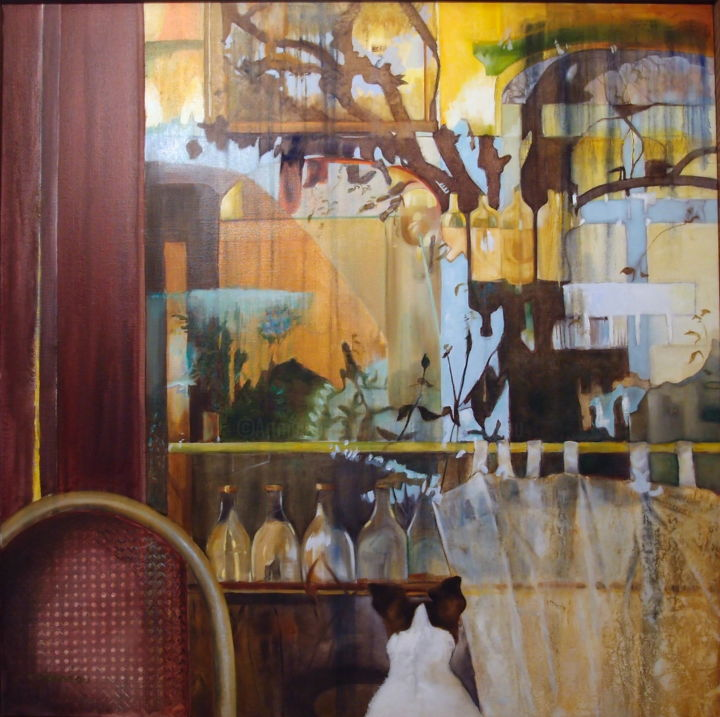 MIREMENT - Painting,  39.4x39.4 in, ©2016 by Catherine Chesneau -                                                                                                                                                                                                                          Classicism, classicism-933, Interiors, lumière