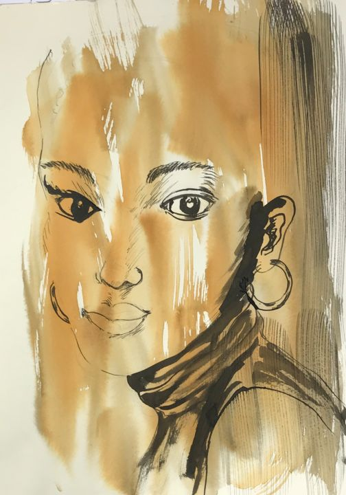 """Drawing titled """"""""visage  sur fond o…"""" by Catherine Drouin-Goutal, Original Art, Ink"""