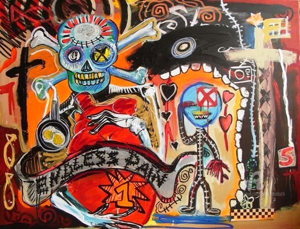 Endless pain - Painting,  34.7x45.7 in, ©2009 by Catherine Duch -                                                                                                                                                                                                                                                                                                                                                                                                                                                                                                                                              Outsider Art, outsider-art-1044, Pop Culture / celebrity, pain tattoo, endless pain, catherine duch, catrina art, tattoo artist painter, outsider brut, outsider pop, art singulier