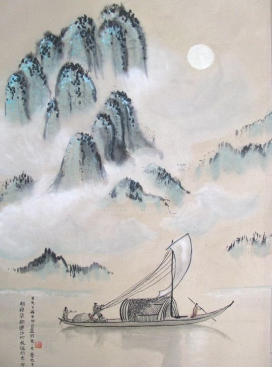 Sois mon ancre, sois ma voile.. - Painting,  38.2x23.6 in, ©2013 by Catherine  MONDOUX -                                                                                                                                                                                                                                                  Asia, Peinture chinoise, art chinois, art contemporain, paysage