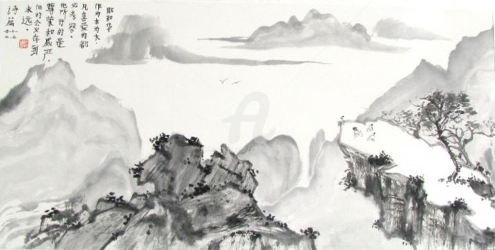 Respiration - Painting,  19.3x32.7 in, ©2010 by Catherine  MONDOUX -                                                              peinture chinoise