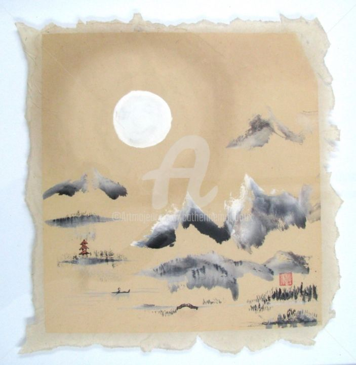 Sourire de lune... - Painting,  24.8x24.8 in, ©2009 by Catherine  MONDOUX -                                                              Peinture chinoise