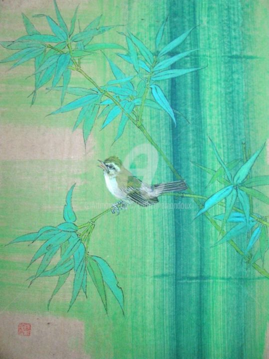 """Louange """"polyglotte""""... - Painting,  15.8x11.8 in, ©2013 by Catherine  MONDOUX -                                                                                                                                                                                                                                                                                              Asia, Art chinois, oiseau, polyglotte, bambou, peinture chinoise"""