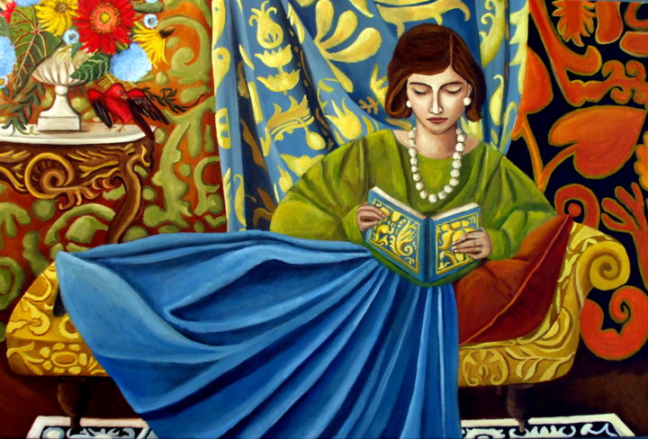 one-fine-day-6.jpg - Painting,  20x30x0.8 in, ©2018 by Catherine DeQuattro Nolin -                                                                                                                                                                                                                                                                                                                                                              Figurative, figurative-594, Interiors, woman reading, matisse inspired, bold pattern, vivid color