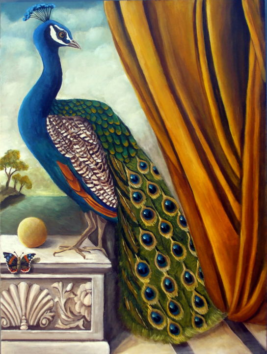 """Painting titled """"Peacock Place"""" by Catherine Dequattro Nolin, Original Art, Acrylic"""