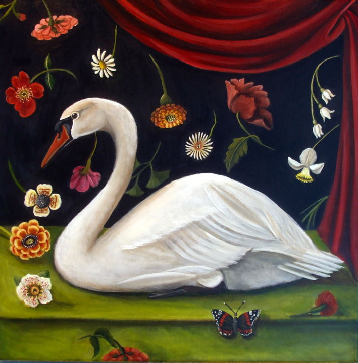 """Painting titled """"Floral Swan"""" by Catherine Dequattro Nolin, Original Art, Acrylic"""