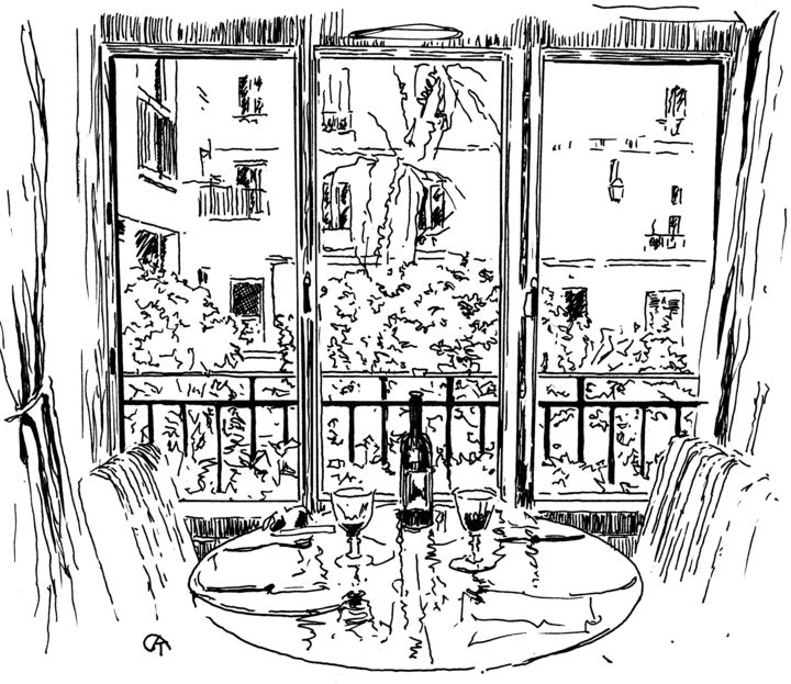F9.3 - Drawing, ©2020 by Catherine Rossi -                                                                                                                                                      Paris, fenêtre, confinement