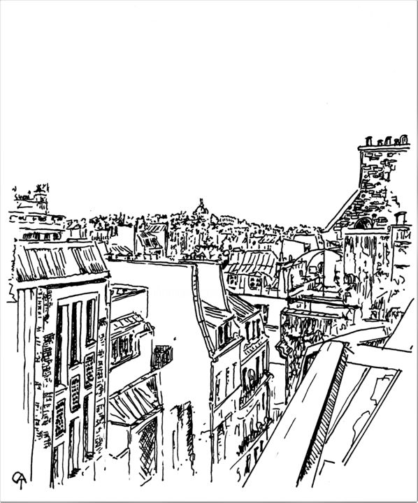 F10.1 - Drawing, ©2020 by Catherine Rossi -                                                                                                                                                      Paris, fenêtre, confinement