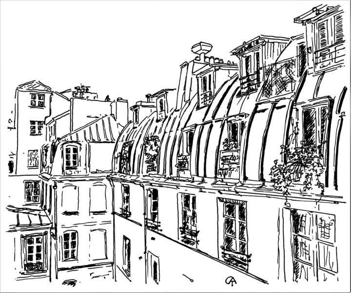 F10.2 - Drawing, ©2020 by Catherine Rossi -                                                                                                                                                      Paris, confinement, fenêtre