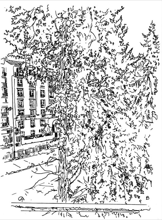 F11.1 - Drawing, ©2020 by Catherine Rossi -                                                                                                                                                      Paris, confinement, fenêtre