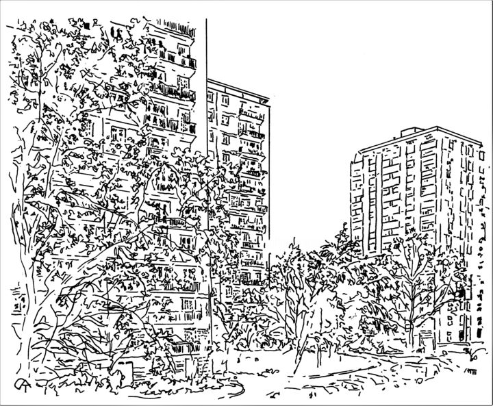 F11.2 - Drawing, ©2020 by Catherine Rossi -                                                                                                                                                      Paris, confinement, fenêtre