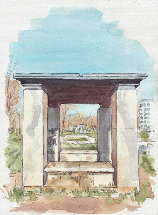 """Painting titled """"Petit kiosque ou ab…"""" by Catherine Rossi, Original Art, Watercolor"""
